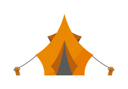 campsite: Forest camping vector concept with tourist outdoor tent. Outdoor tent summer nature leisure and activity camping outdoor tent. Forest sport landscape campsite outdoor tent on green grass wilderness.