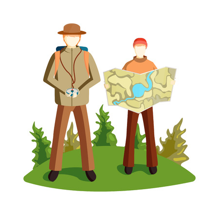 global navigation system: Concept of tourists couple with GPS icons map terrain orientation. Navigation on mountains terrain orientation. Global positioning system terrain orientation. Characters tourist with map camping.