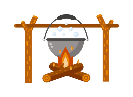Isolated bonfire with camping pot on white and pot on bonfire camping fresh warm food. Vector pot on bonfire picnic travel and pot on bonfire soup camp food. Cook heat water soup in kettle. Illustration