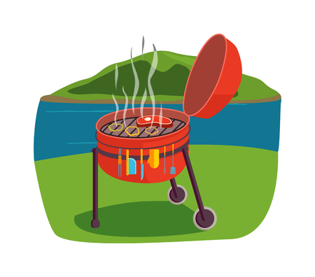 Grill BBQ vector and outdoor grill charcoal steak roast tool. Outdoor grill on green grass and hot, barbecue camping food preparation outdoor grill tool. Outdoor grill garden cook picnic.