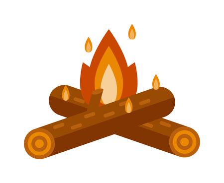 Isolated illustration of campfires logs burning bonfire. Bonfire on white background. Vector bonfire isolated and wood explosion glowing bonfire isolated. Red nature burning blazing power vector. Illustration