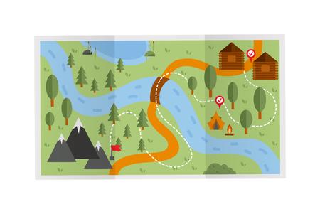 Los viajes por carretera mapa de rutas de ilustración. ruta de viaje Mapa del vector y la ruta de viaje de mapas conceptuales de recreo. plan de mapa de rutas de la calle dirección cartografía del viaje del diseño plano. Buscar puntero del mapa geográfico.
