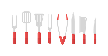 Stainless steel BBQ grill tools and cooking grill tools steel kitchen equipment. Vector grill tools and kitchenware charcoal hot grill tools. Grill tools preparation item cutlery household supplies.