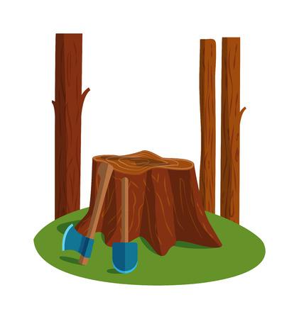 Deforestation awareness, sad tree deforestation vector concept. Deforestation forest wood environment ecology and stump tree deforestation. Plant climate environmental landscape deforestation.