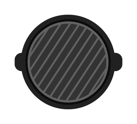 barbecue stove: Barbecue grill isolated on white background. Top view and grill isolated vector black tool. Grill isolated cooking tool and barbecue grill isolated device steel household accessory.