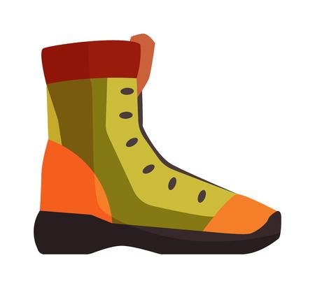 흰색 배경 및 여행 부츠에 격리하는 오래 된 노란색 작업 여행 부츠 쌍 하이킹 모험 신발입니다. 벡터 여행 부츠와 갈색 여행 가죽 패션 여행 부츠.