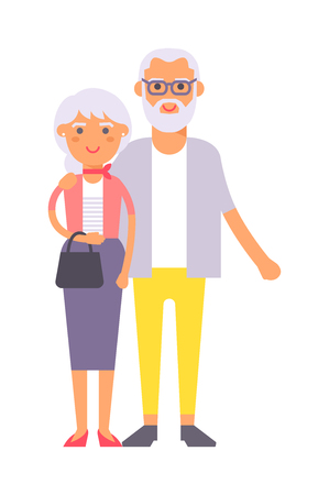happy older couple: Old couple people vector. Happy old people couple happy family together. Happy ensioner couple family people on happy together character vector illustration.