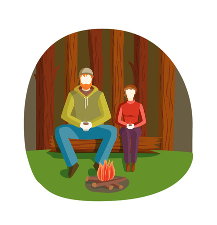 people relaxing: Bonfire night firewood vector and family bonfire night at summer forestcamp. Young people relaxing campfire at bonfire night. Travel people gatherings around bonfire night. Burning at night forest. Illustration