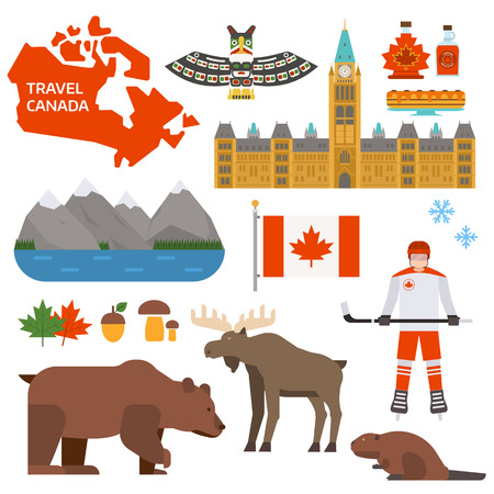 Travel Canada traditional objects and maple Canada symbols. Vector Canada symbols and national travel culture isolated Canada symbols. Canada symbols country leaf design icon nation collection. Illustration