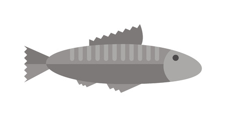 Fish floating, water pollution cartoon flat vector. Gray fish animal nature food and fish ecology environment. Fish icon isolated on white Illustration