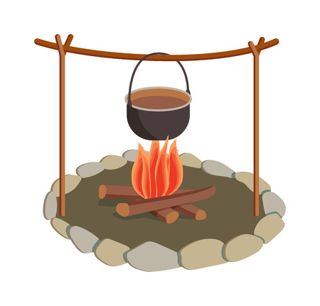 Isolated bonfire with camping pot on white and pot on bonfire camping fresh warm food. Vector pot on bonfire picnic travel and pot on bonfire soup camp food. Cook heat water soup in kettle. Иллюстрация