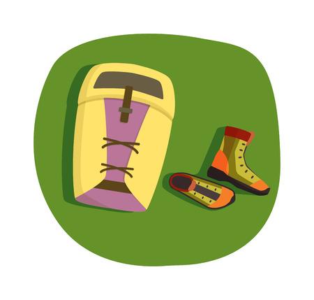 mochila viaje: Acampar concepto de bosque e inusual que acampa del recorrido concepto de ilustraci�n. mochila de viaje concepto de camping y vacaciones bosque concepto de accesorios de camping tur�stico. Supervivencia se�al de expedici�n de picnic. Vectores