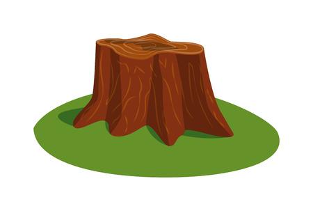 tree stump: Illustration of tree stump and mushroom tree stump vector. Wood nature tree stump and natural forest section tree stump. Tree stump wood trunk, natural forest cut tree on green grass.