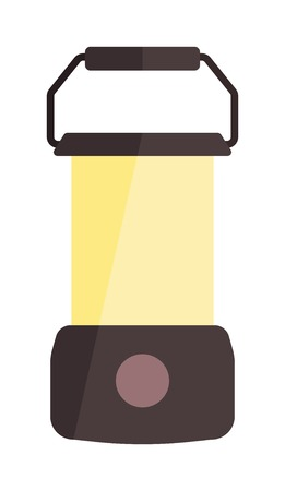Portable electric lantern camping lamp and camping lamp vector handle lantern. Bright flashlight camping lamp and camping lamp classic portable flashlight. Kerosene dark old fuel equipment. Illustration