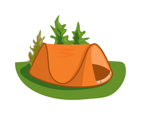wilderness: Forest camping vector concept with tourist outdoor tent. Outdoor tent summer nature leisure and activity camping outdoor tent. Forest sport landscape campsite outdoor tent on green grass wilderness.
