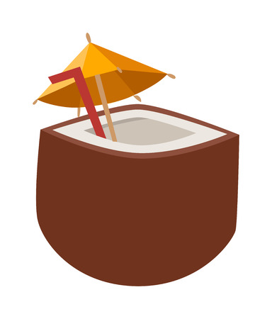 refreshment: Coconut cocktail isolated and coconut cocktail vector. Fruit drink coconut cocktail and healthy summer juice nature coconut cocktail. Natural refreshment sweet gourmet beach coconut.