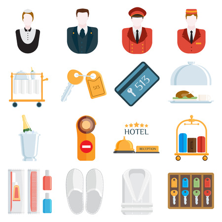 hotel manager: Hotel icons and hotel services icons on white background. Vector hotel icons and travel hotel icons room resting. Reception web suitcase business hotel icons. Collection hotel service.