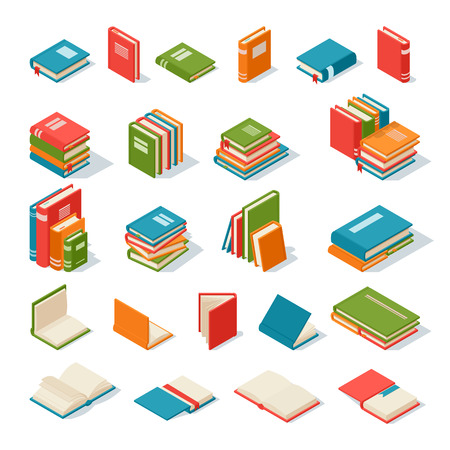 school library: Books collection isolated on a white background. Literature paper books isolated and education books isolated vector illustration. Books isolated knowledge information school library.