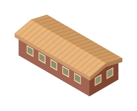 edificio industrial: Isométrica del vector del icono edificio de la fábrica. edificio industrial elemento de infografía isométrica fábrica industrial, algún símbolo industrial de almacén. Casa de la configuración del paisaje urbano exterior