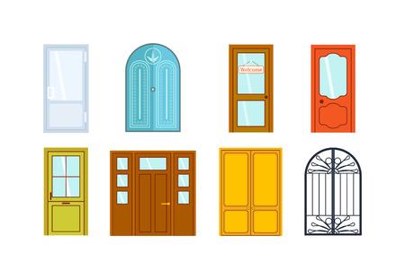 Set van kleur deuren geïsoleerd op wit. Kleurrijke voordeuren aan huizen en gebouwen in platte design stijl geïsoleerd. Vector illustratie deuren geïsoleerd modern nieuw decoratie geopend elegante kamer slot.