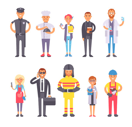 People professions qualification, employment and success concept. Happy different people professions businessman over group of professional workers. People professions occupation job man worker.