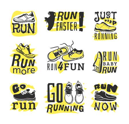 run faster: Sport fitness typographic poster run sport motivation. Run sport motivation. Motivational and inspirational illustration lettering logo design, banner, poster, bodybuilding or fitness club. Illustration