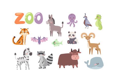 starve: Vector zoo animals. Many different animals panda, sea whale, octopus, buffalo, goat. Donkey, tiger, zebra, bat, fish, raccoon Zoo animal character safari collection and cartoon cute zoo animals Illustration