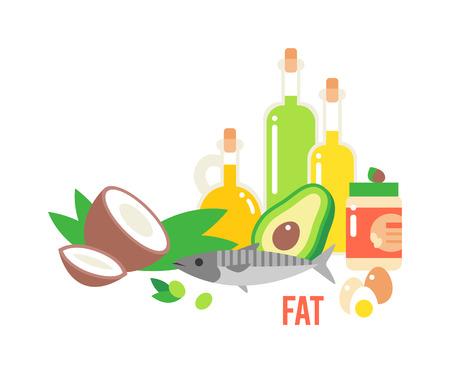 다른 종류의 건강한 지방. 좋은 지방 다이어트 아보카도, 건조 과일과 기름. 유기농 식품 벡터 및 건강 식품 지방. 신선한 다이어트 녹색 올리브 지방  일러스트