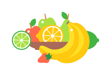 plate of food: Big plate with lots of healthy fruits over white background. Fruit plate vector illustration organic nutrition healthy food. Dessert citrus vegetarian red strawberries, tasty pear on fruit plate. Illustration