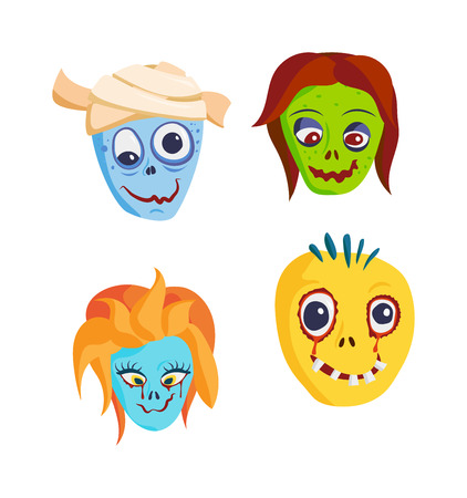Zombie head cartoon monster character scary flat vector illustration. Zombie head character face and zombie head smile spooky man. Portraip of cartoon moster blue zombie vector. Halloween kids style image of zombie hand Illustration