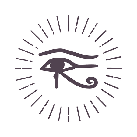 esoteric: Vector esoteric eye symbol sketch hand drawn. Religion, philosophy, spirituality, occultism, chemistry, science, magic esoteric symbol. Design esoteric icon tattoo element.