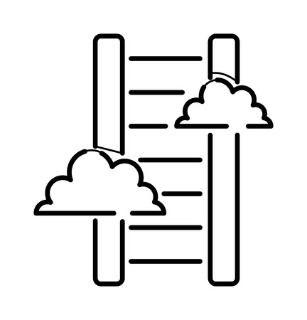 step ladder: Career stair thin icon isolated thin line black color graphic concept design vector. Stair thin icon with clouds and step ladder stair thin icon. Stairway improvement tool stair thin icon success.