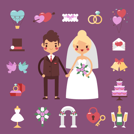 bridal party: Traditional bride groom wedding icons set with engaged couple and bridal party accessories isolated. Vector illustration bride groom wedding love couple marriage dress. Groom wedding symbols. Illustration
