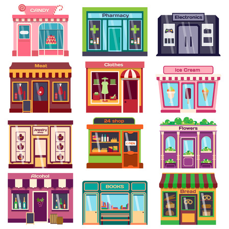 Set of vector flat design restaurants and shops facade icons. Includes bakery, pharmacy, electronics store, ice cream shop, book shop facade, butcher shop, trendy clothing store, jewelry store facade. Иллюстрация