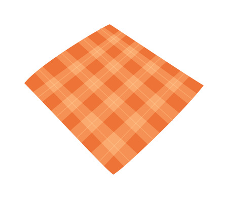 country kitchen: Ffolded tablecloth isolated on white. Tablecloth background seamless pattern.Illustration of traditional gingham dining cloth with fabric texture. Checkered picnic cooking tablecloth. Illustration