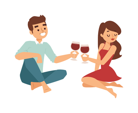 flirting: Nice looking young american male student date flirting boy and girl chasing pleased on outdoor date. Date flirting boy and cute girl. Vector character date flirting boy and girl happiness together.