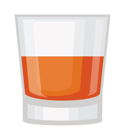 booze: Whisky shot cup vector illustration. Refreshment rum beverage whisky shot cup. Whisky shot cup pub liquid, cocktail brandy short drink. Party drunk symbol. Drunkard spirit booze toast.