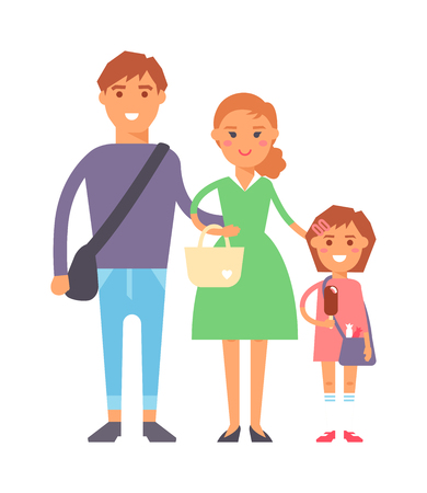Happy family portrait together vector characters. Vacation family fun together and cartoon family joy together. Parent leisure cheerful portrait family. Illustration
