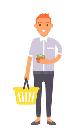 cute guy: Young boy wish shop list pushing supermarket shopping cart full of groceries. Flat style shopping boy vector illustration isolated. Shopping boy basket product cute guy buy leisure.