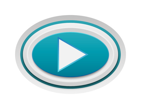 to accept: UI interface buttons play media. Vector internet play button positive isolated. Website accept play button success mark approved tick concept. Correct shiny sign.