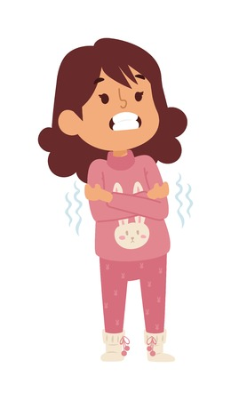 sad little girl: Children sick sickness disease little kid girl character. Health problem health stick sick children figure isolated. Sad sick children little people. Sick illness people kid girl