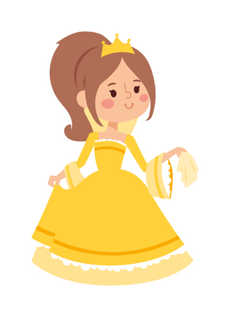 Cute beautiful princess vector character girl. Adorable elegance style princess little girl. Princess fashion fairytale costume, magic fantasy cute dress crown girl. Young adult kid
