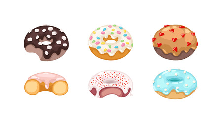 yummy: Set of cute sweet colorful donuts. Brown chocolate yummy cookie donuts food. Candy decoration color donuts collection.