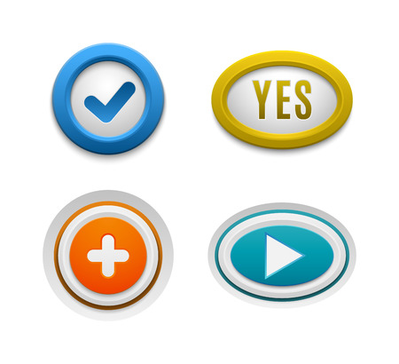 ok button: Set of interface buttons ok, cancel, yes, no. Vector internet check ok button positive set. Website accept ok button success red mark approved tick concept. Correct shiny sign.