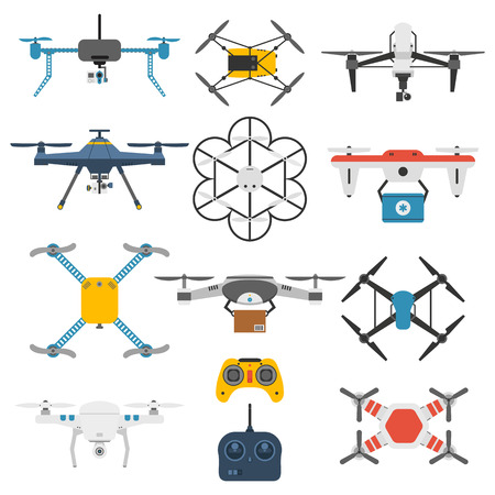 hovering: Vector illustration aerial vehicle drone quadcopter surveillance unmanned innovation. Air drone hovering wireless vehicle vector. Remote control drone quadcopter set aircraft fly aerial camera.