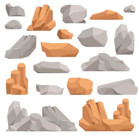Stones and rocks in cartoon style big building mineral pile. Boulder natural rocks and stones granite rough. Vector illustration rocks and stones nature boulder geology gray cartoon material. Vettoriali