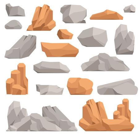 Steine ??und Felsen im Cartoon-Stil große Gebäude Mineral Haufen. Boulder natürliche Felsen und Steine ??Granit rau. Vektor-Illustration Felsen und Steine ??Natur Felsblock Geologie grau Cartoon Material. Standard-Bild - 60455909