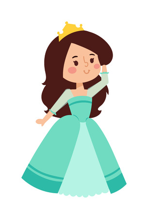 young adult: Cute beautiful princess vector character girl. Adorable elegance style princess little girl. Princess fashion fairytale costume, magic fantasy cute dress crown girl. Young adult kid