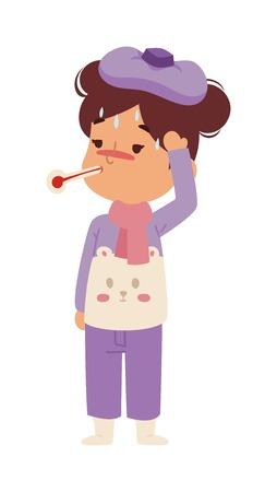 Children sick sickness disease little kid girl character. Health problem health stick sick children figure isolated. Sad sick children little people. Sick illness people kid girl