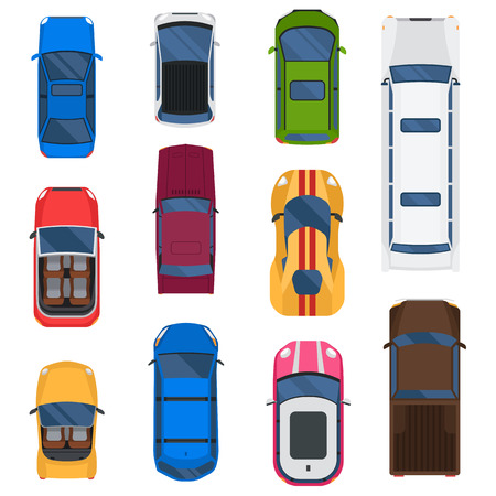 roof top: Top view different automobiles set isolated on white. Car top view taxi automobile vector racing transport. Wheel motor collection car top view transportation design traffic road van roof.